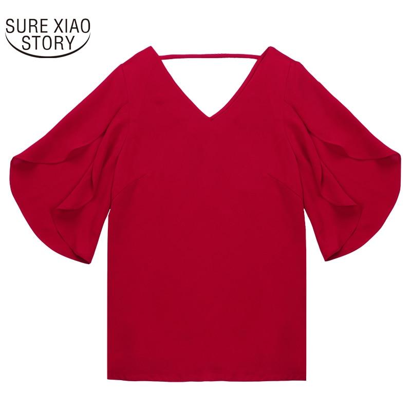 Sexy V Mujeres Corta Moda red Larga Camisa De Manga Coreanas 30 Blusa 900c Nueva cuello Tamaño Verano Suelta Gasa Las Mariposa Más 2017 Khaki 6nxOAqq