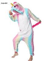 Rainbow Unicorn Onesie Kugurumi Pajamas Sets Halloween Cosplay Christmas Costume Winter Nighte Sleepwear Hooded For Women