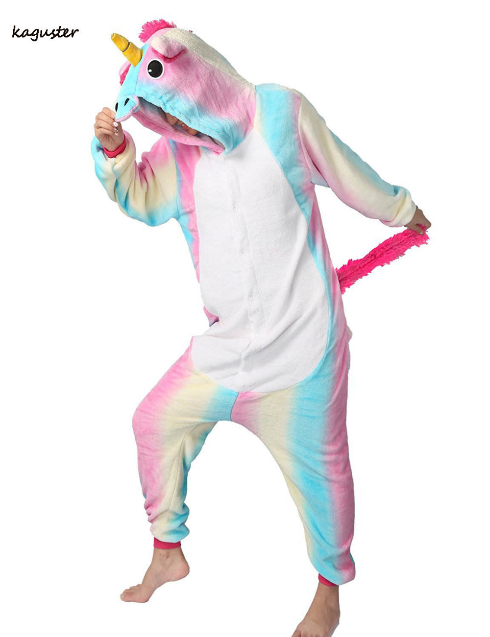 Rainbow Unicorn Onesie Kugurumi Pajamas Sets Halloween Cosplay Christmas Costume Winter Nighte Sleepwear Hooded For Women Men