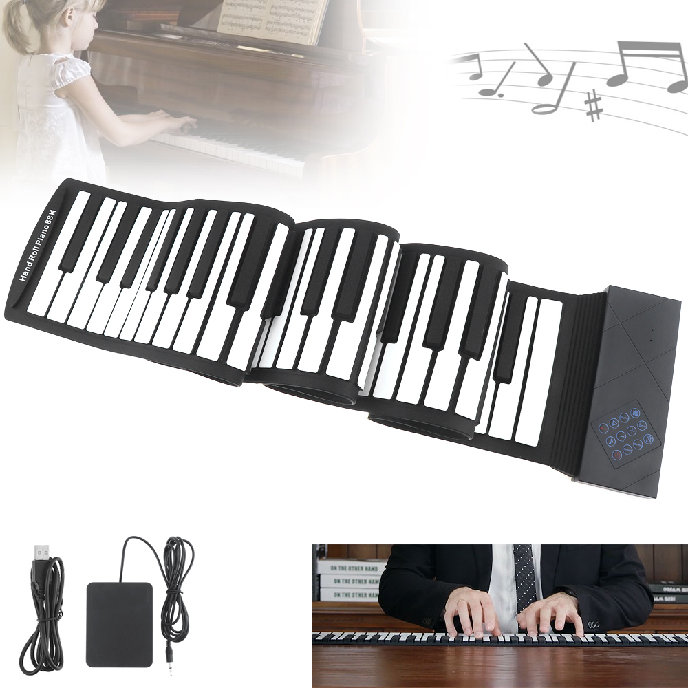 88 Keys USB MIDI Electronic Roll Up Piano Portable Silicone Flexible Keyboard Organ Sustain Pedal Folding