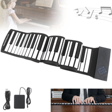 88 Keys USB MIDI Electronic Roll Up Piano Portable Silicone Flexible Keyboard Organ Sustain Pedal Built-in Speaker недорого