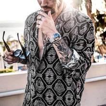 рубашка камиза masculina мужчины рубашка мужчины хомбре хомбре сорочка Homme камиза повседневная уличная ежедневная печать с длинным рукавом  Z4 в аренду