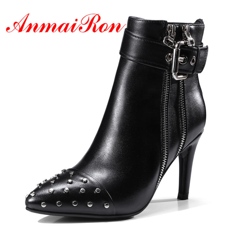 ANMAIRON Women Ankle Boots Pointed Toe Shoes Size34-39 High Heels Thin Heels Fashion Punk Female Winter Boots Metal Buckle CR741ANMAIRON Women Ankle Boots Pointed Toe Shoes Size34-39 High Heels Thin Heels Fashion Punk Female Winter Boots Metal Buckle CR741