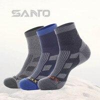 2 Pairs Lot SANTO Men Spring Autumn Socks Outdoor Running Hiking Quick Drying COOLMAX Sports Socks