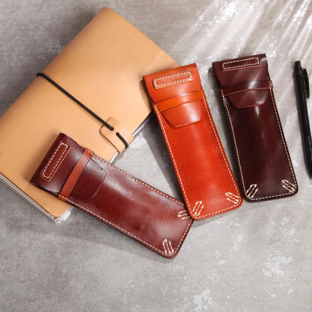 Genuine Leather Vintage Style handmade Pen Pencil Case Storage bag Leather girl Pouch Kawaii office student School StationaryGenuine Leather Vintage Style handmade Pen Pencil Case Storage bag Leather girl Pouch Kawaii office student School Stationary