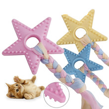 1Pcs Star Cotton Rope Training Chewing Toys Pet Dog Interactiv Toy  Rubber Durable Pentagram Shaped Puppy Supplies