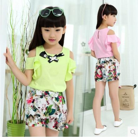 Kids girls short-sleeved suit 2016 new summer children's cotton casual T-shirt big virgin piece shorts girl clothes 3-12 years