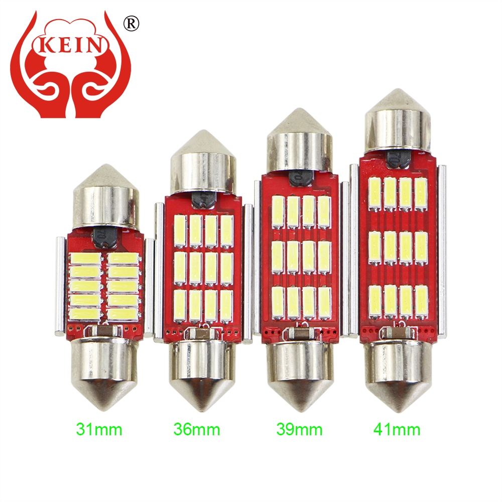 KEIN 1PCS Canbus Error Free CAR Auto LED C3W C5W C10W 31MM 36MM 39MM 41MM reading License Plate Bulb interior light Vehicle Lamp cyan soil bay festoon 36mm led bulb c5w c10w 4014 16 smd canbus error free auto interior dome lamp car styling reading light