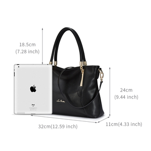 Image 4 - Laorentou mulheres topo bolsas de luxo senhora couro bolsa casual totes bolsas femininas crossbody bolsas de ombro bolsa feminina