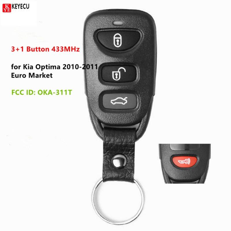 Keyecu Новый дистанционный смарт ключ-брелок 3 + 1 Кнопка 433 МГц для Kia Optima 2010 2011 FCC ID: OKA-311T P/N: 95430-2G101