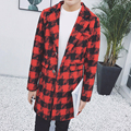 Fashion slim fit black plaid color blocked lapel coat men thicken warm woollen coat wool & blends men 2-colors size m-5xl NDY7