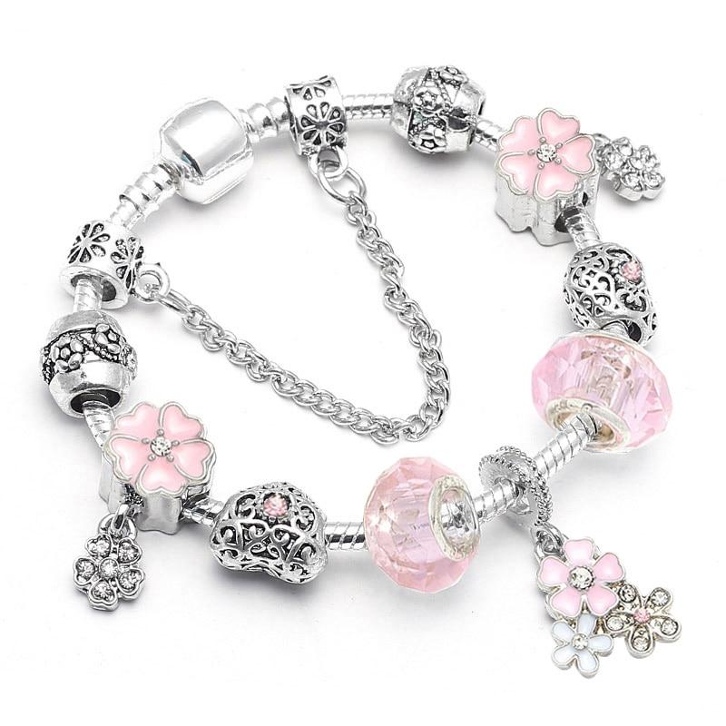 BAOPON Прямая поставка винтажные Подвески серебряного цвета браслеты для женщин DIY Кристальные бусины изящные браслеты для женщин Pulseira ювелирные изделия - Окраска металла: Type 6
