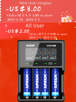 XTAR NEW VC4S Colorful VA LCD Screen 3A battery charger use for IMR Lithium Li-ion Rechargeable Battery 18650/26650/10440/16340 image