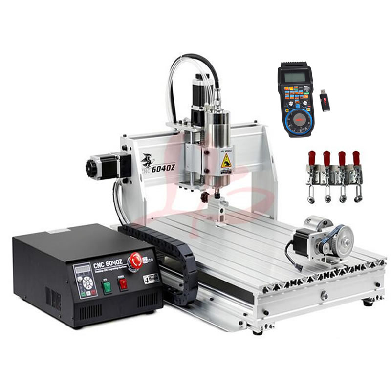 USB CNC 6040 4 axis CNC Engraving Machine 2.2KW Spindle for metal wood cutting CNC router PCB Milling Machine ly cnc 6040 z vfd 2 2kw usb 3 axis woodworking machine with water tank for stong metal wood