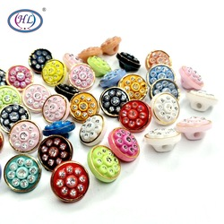 HL 20/50/80pcs 12MM Mixed Color Acrylic Buttons With Rhinestones Shank Shirt  Sewing Accessories DIY Scrapbooking