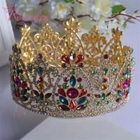 Silver And Gold Elegant Luxurious Bride Crown Headwear Rhinestone Tiaras Hairpin Wedding Hair Accessories Bride Jewelry