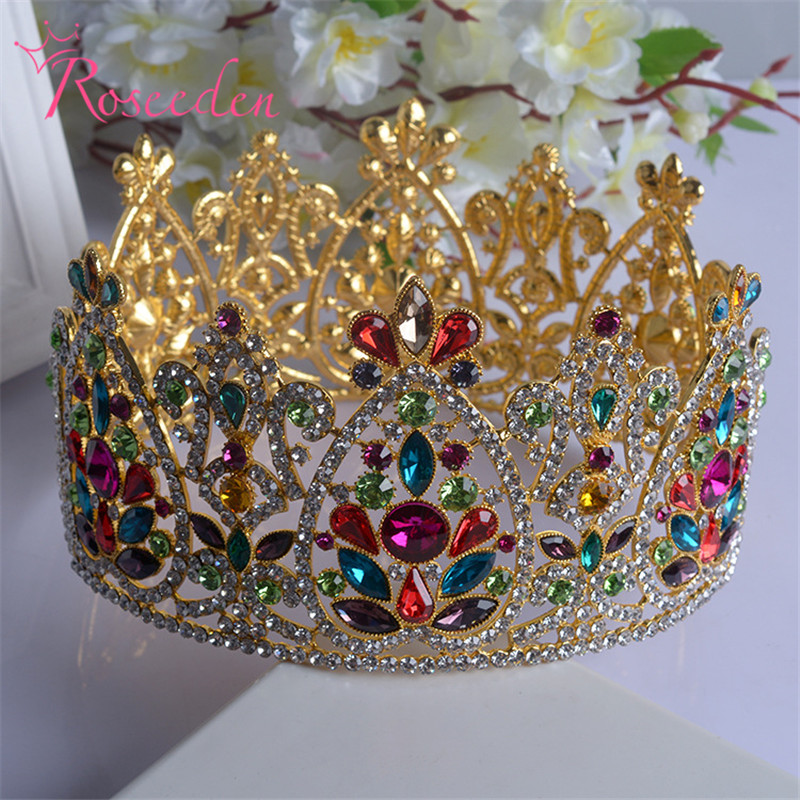 Silver and Gold Elegant Luxurious Bride Crown Headwear Rhinestone Tiaras Hairpin Wedding Hair Accessories Bride Jewelry RE201 цена
