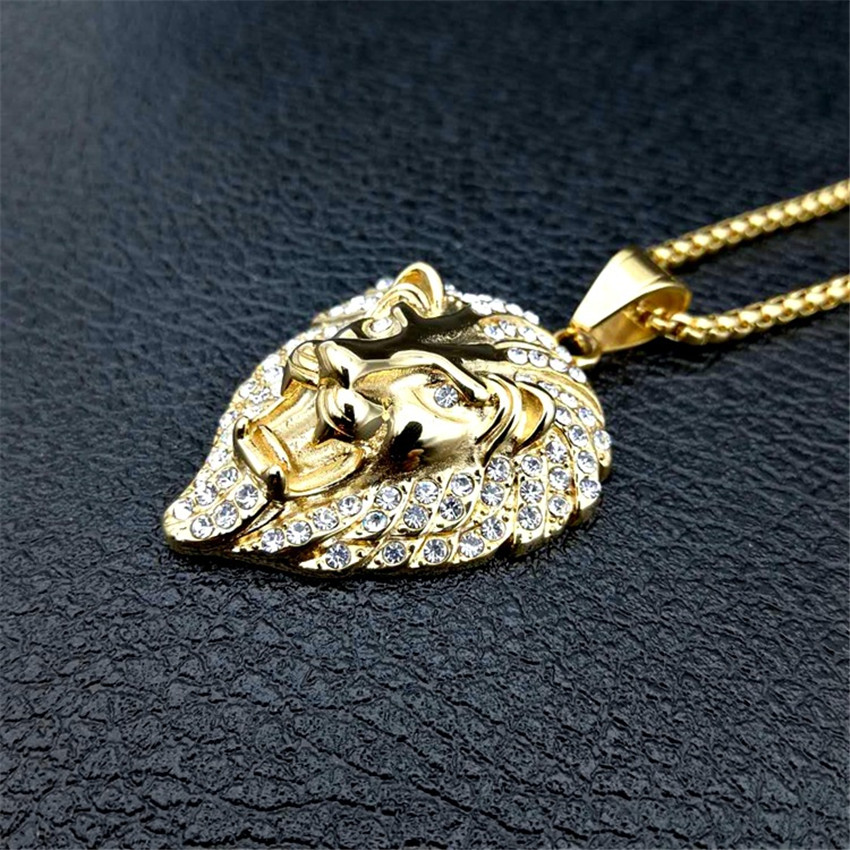Hip Hop Charm Iced Out Bling Golden Lion Head Pendants Necklaces Male Gold Color Stainless Steel Chain Rock Jewelry Gift For Men in Pendant Necklaces from Jewelry Accessories