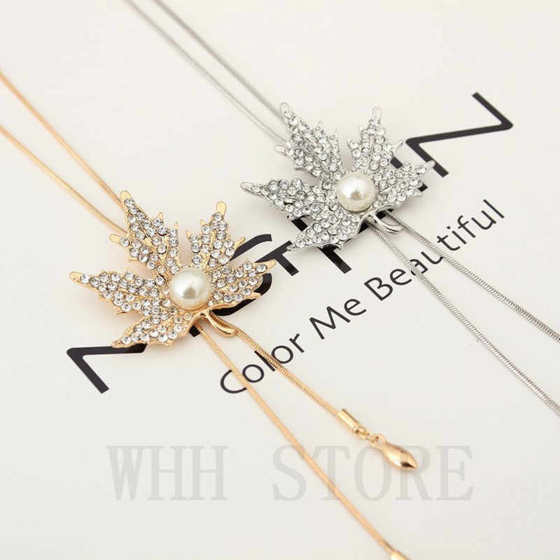 Autumn and winter wild jewelry sweater chain long paragraph maple leaf necklace female Korean decorative pendant accessor 4ND194