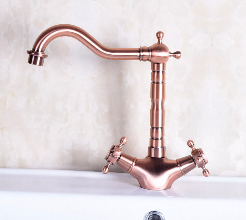 Antique Red Copper Brass Dual Cross Handles Bathroom Kitchen Basin Sink Faucet Mixer Tap Swivel Spout Deck Mounted Mnf255