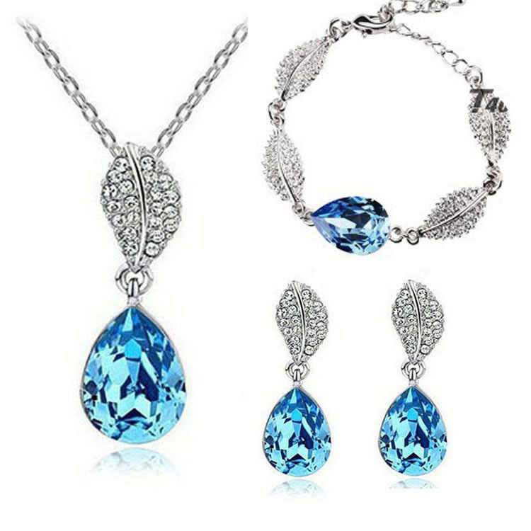 2015 Hot Sale Promotion Fashion Silver Plated Austrian Crystal Water Drop Necklace/Stud Earrings bracelet Wedding Jewelry Sets