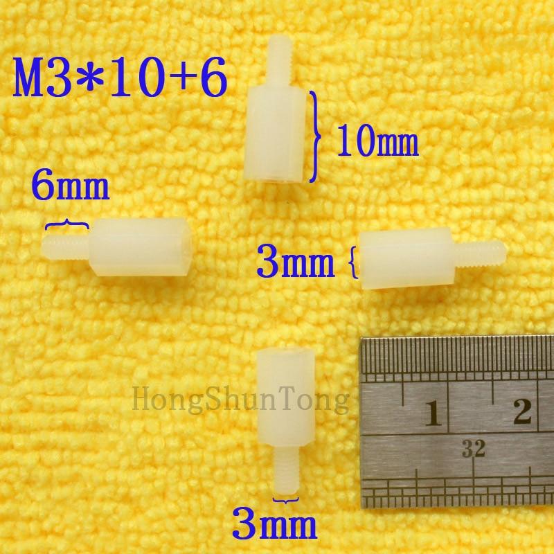 1Pcs M3 * 10 + 6 Branco Nylon Standoff Spacer M3 10mm Kit Impasse Macho-Fêmea Padrão reparação Conjunto de Alta Qualidade