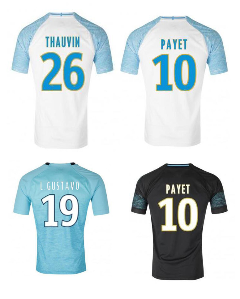 New 2018 men's Olympique de Marseille shirt 18 19 adults running shirts Top Quality adult PAYET THAUVIN L.GUSTAVO T-shirt