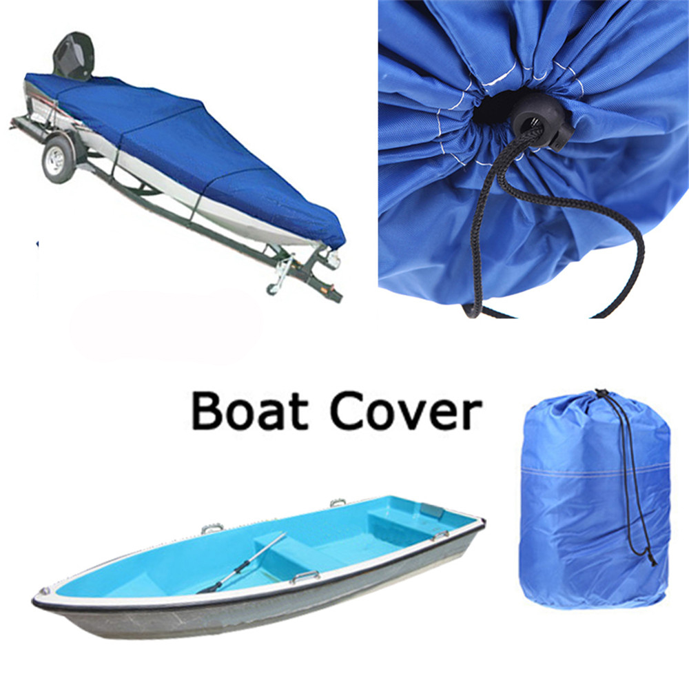 FREE SHIPPING 210D Speedboat Camping Fishing Boat Cover Accessories Car Covers 17-19ft Ski V-Hull Waterproof UV Protected BLUE