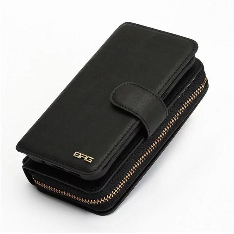 imágenes para La Cremallera de múltiples funciones de la Carpeta Para Samsung Galaxy I9600 S5 PU Desmontable de cuero Del Tirón Del Teléfono Cubierta de Bolsa bolsa Para Samsung S5