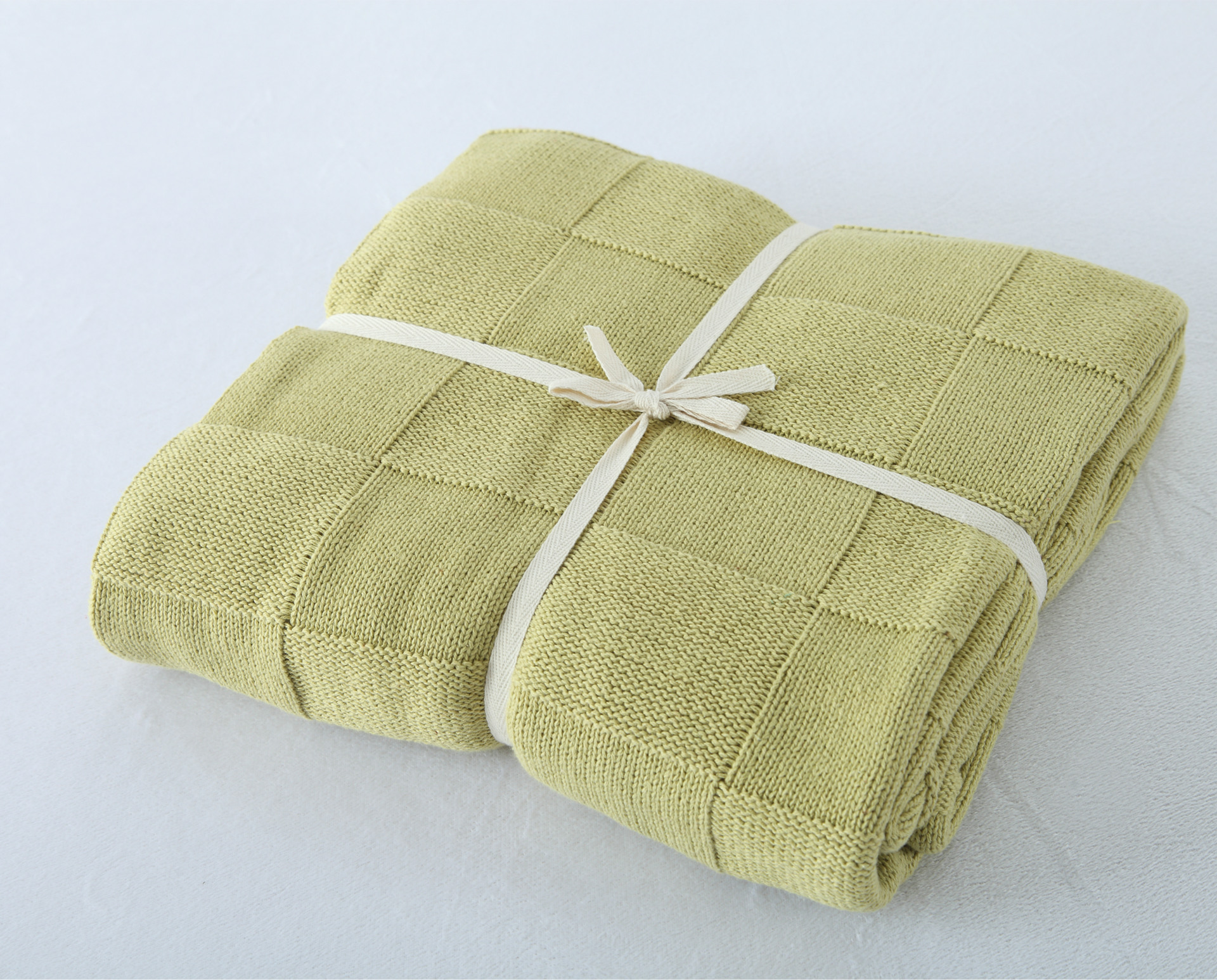 100% Cotton Green Plaid Knit Blanket for Summer/Autumn Throw ...