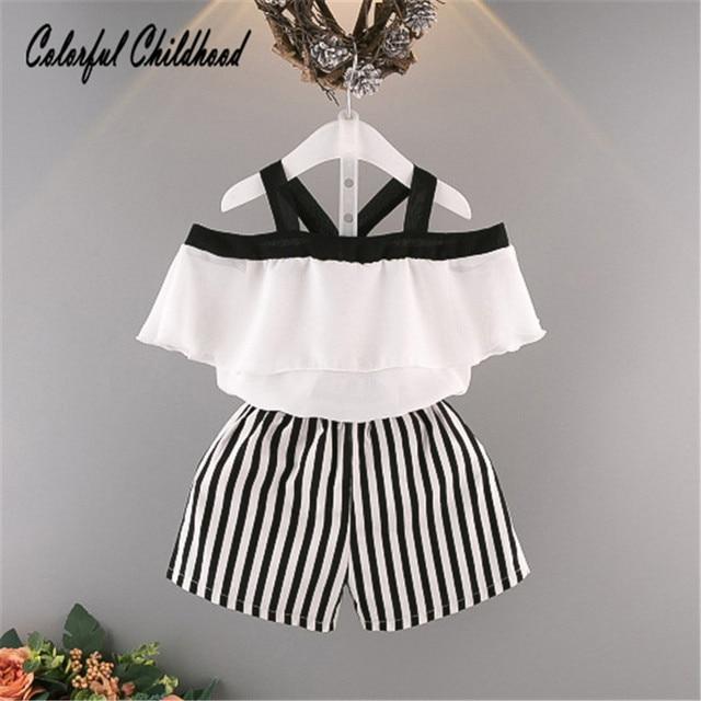 29810f2894 Baby Girls holiday outfit Summer Spring New Girls Princess shoulderless  Shirt +stripe Shorts 2 Pcs Set toddler baby Clothing Set