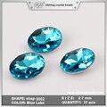 Tamaño de la Forma Redonda de 20 MM 27 MM Lago Azul Color Pointback Rhinestone de Lujo Cristal de Piedra de Cristal Perlas Para La Joyería de DIY haciendo