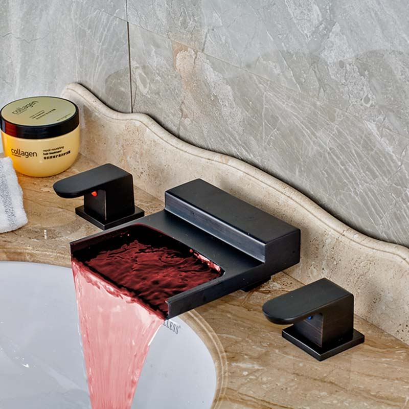 LED Color Changing Oil Rubbed Bronze Waterfall Bathroom Faucet Tub Mixer Tap NEW allen roth brinkley handsome oil rubbed bronze metal toothbrush holder