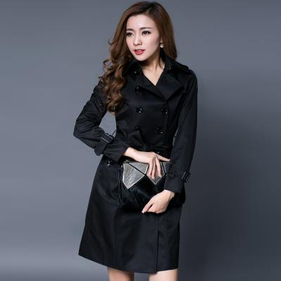 Black khaki red woman spring coat england double-breasted slim trench coats for womens star style dress female british style