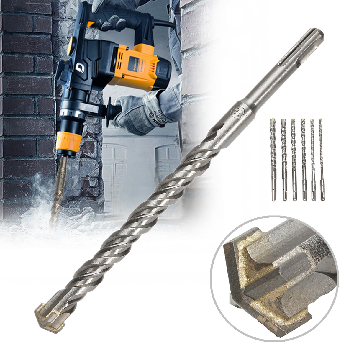 Concrete Tungsten Carbide Tip 210mm SDS Plus Crosshead Drill Bits Carbide Twin Spiral Drilling Efficiency High Precision Durable цена