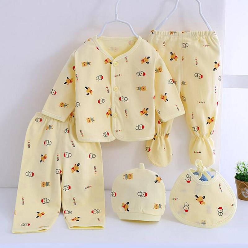 Bekamille 5pcs/set Newborn Set Baby Clothes infant suits Boys Girls Clothing Cotton Underwear casserole set