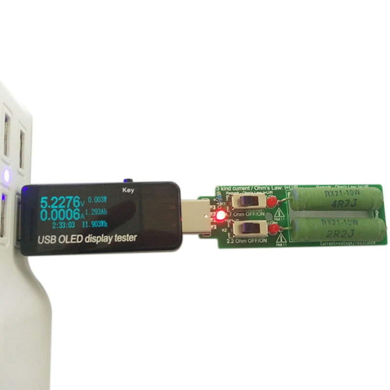 Adjustable Switch Resistor USB <font><b>DC</b></font> Electronic Load 5V 1A <font><b>2A</b></font> 3A Battery Capacity Discharge Voltage Tester Resistance image