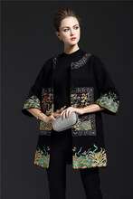 Designer plus size 2017 women autumn winter Chinese style vinatge black flower embroidery long casual wool work coat 8140