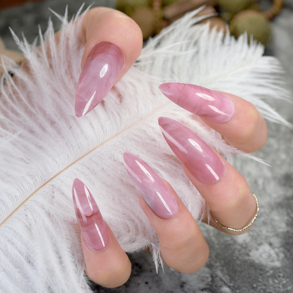 24pcs Marble Pattern Stiletto Nail Tips Dark Pink Extra Long Full Wrap Ladies Nails Finger Patch Makeup False Acrylic Nail Z753
