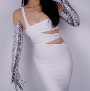 Image 4 - Womens snake skin print faux pu leather long gloves female sexy party dress fashion long glove 70cm R1064