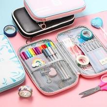 лучшая цена Kawaii School Pencil Case for Girls Boys Cute Pencil Bag PU Leather Large Big Penal Pencilcase Multi Fold Pen Bag Box Stationery