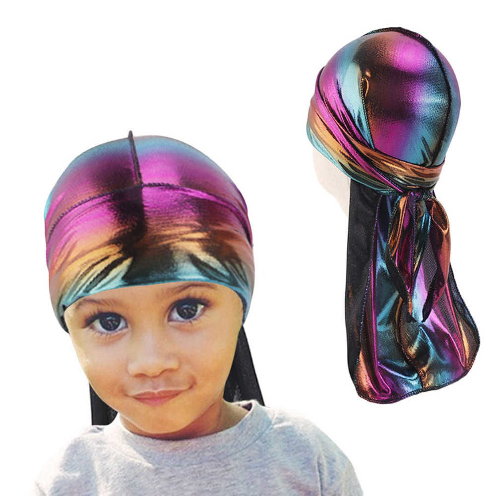 Children's Durag Baby Solid Color Turban Hip-hop Headwrap Boys Fashion Cap