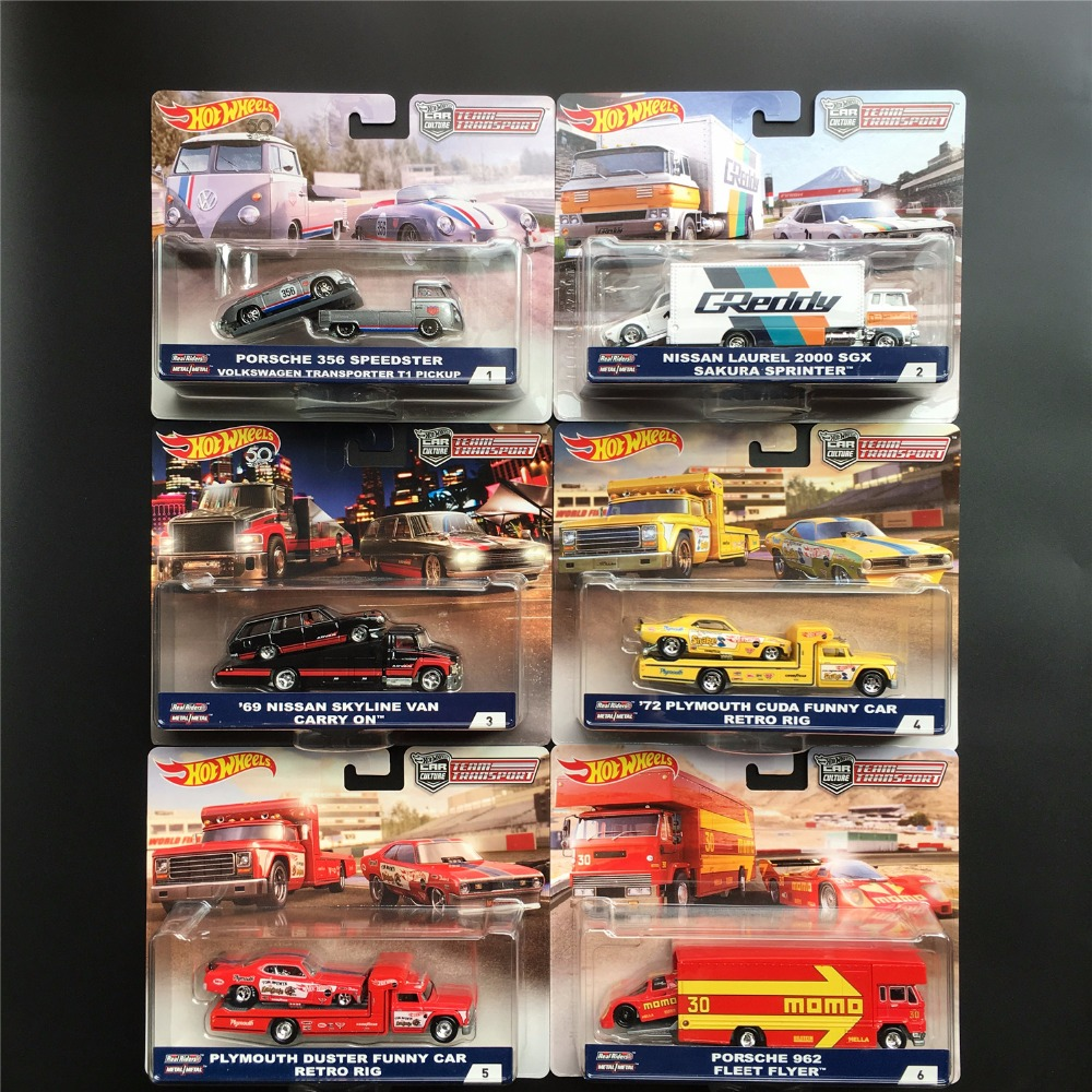 Hot Wheels Car Culture Team Transport NISSAN SKYLINE PLYMOUTH Real Riders Collector Edition Metal Diecast Model Car Kids Toys