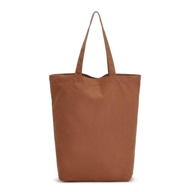 Its Yiiya Cotton Fabric Shopping Bags Pure Brown Color Women Handbags Fashion Simple Shopping Bag Shoulder Bags SS-2229