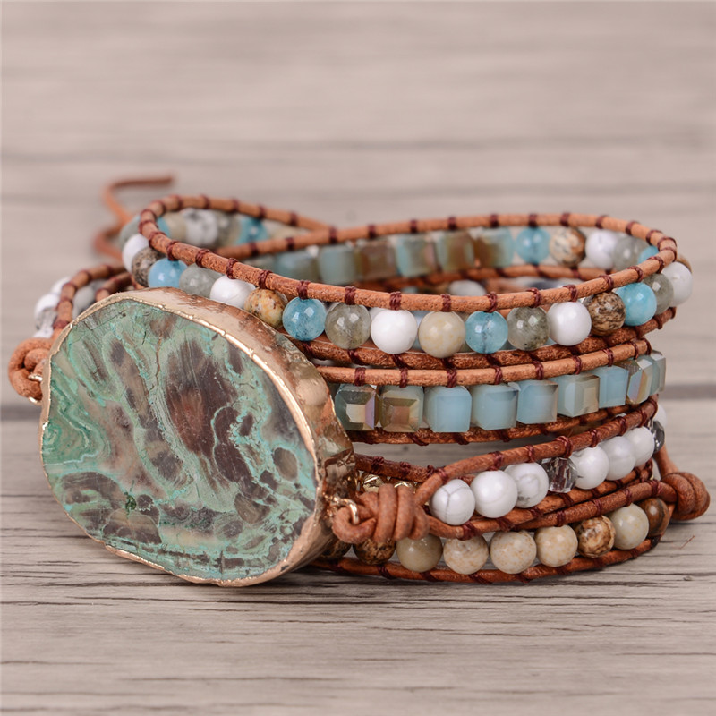 Latest 2018 - 5X Leather Wrap Beaded Bracelet Huge OceanStone Bracelet, Boho Chic Jewelry, Bohemian Bracelet Valentine's Gift