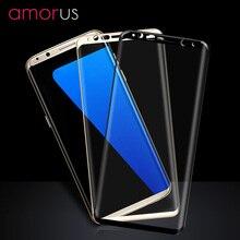 Amorus для Samsung Galaxy S8 плюс шелкография, закаленное Стекло Экран протектор Полный Размеры-6.2 дюймов