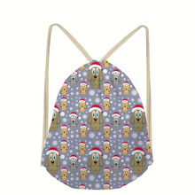 Dog Pattern 3D Animals Print Men Drawstring Bag Small Shoulder Backpacks for Women Girls Rucksack Beach Shoes Bags New mochila