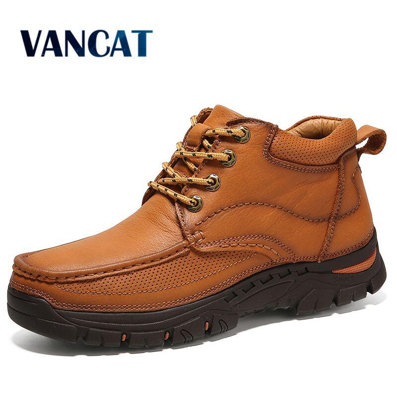 Vancat 2018 бренд Для мужчин Boots100 % натуральная кожа Для мужчин зимние высокие Мужские зимние сапоги Высокое качество из коровьей кожи Теплые бот...