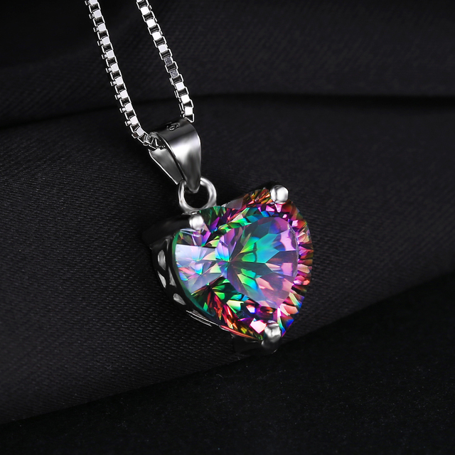 [BUY ONE GET ONE SPECIAL] Rainbow Fire Mystic Topaz Heart Pendant Solid 925 Sterling Silver Vintage Jewelry – SOLD WITHOUT CHAIN