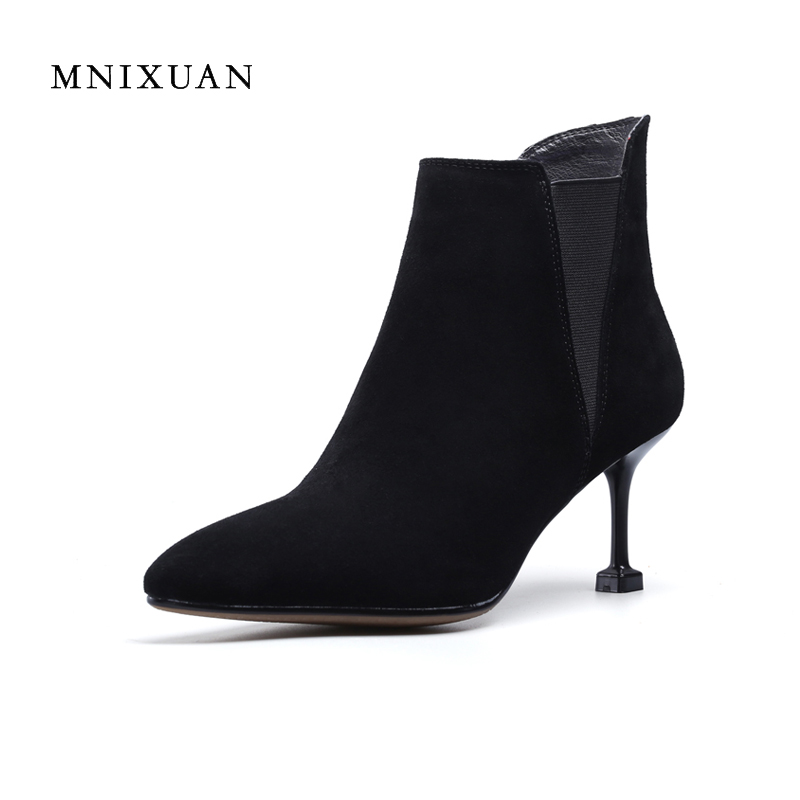Ankle boots for women 2017 autumn winter new genuine leather sex thin high heels pointed toe ladies office woman shoes big size